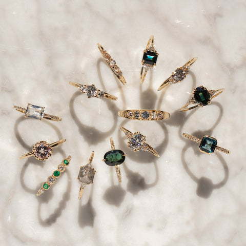 unique alternative engagement rings with colorful stones