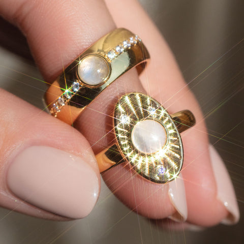 moonstone rings in the sun