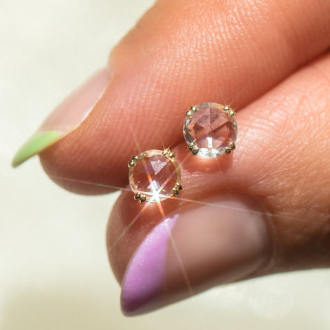 shimmering white sapphire solid gold everyday stud earrings