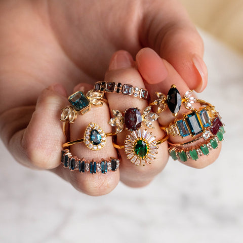 colorful yellow gold statement rings