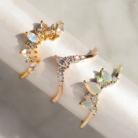stacking rings with opals and diamonds