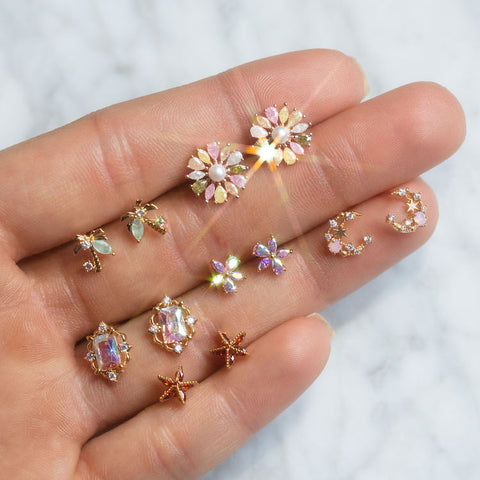 cute unique sparkly gold stud earrings