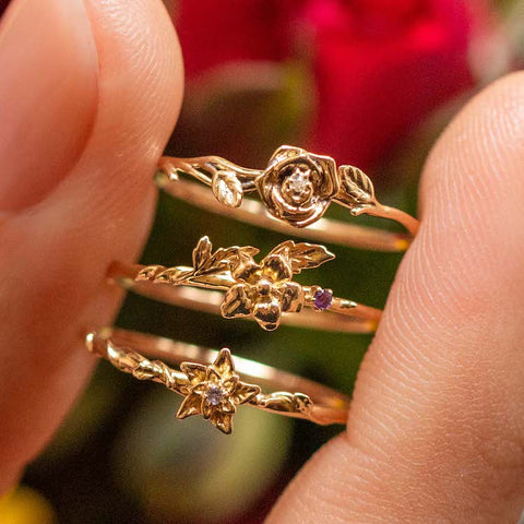 Local Eclectic Gold Birth Month Flower Rings