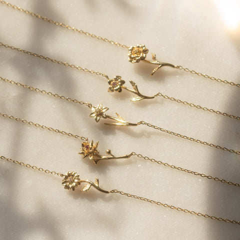 Local Eclectic Gold Birth Month Flower Necklaces