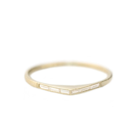 Thin Baguette Bateau Ring with Diamonds from Claire Kinder