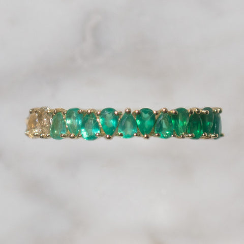 green chalcedony May solid gold birthstone ring