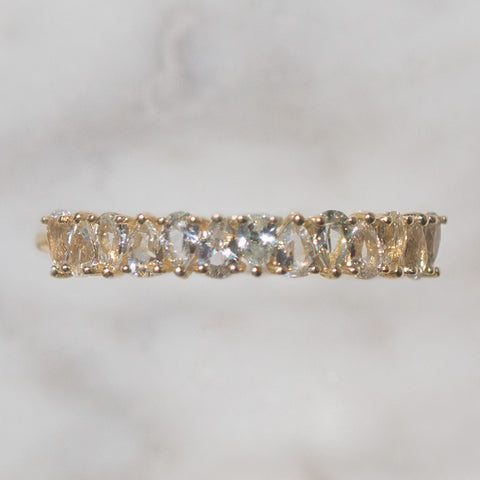 white sapphire April solid gold birthstone ring