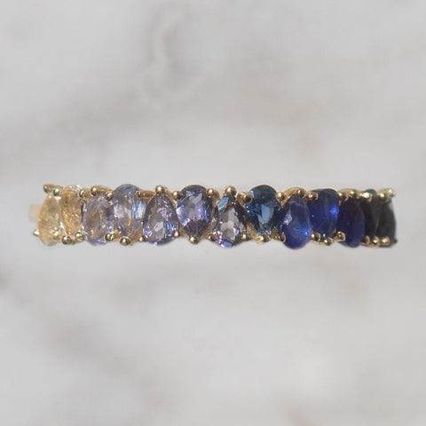 blue sapphire September solid gold birthstone ring