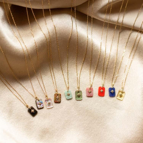 solid gold metaphysical crystal pendant necklaces