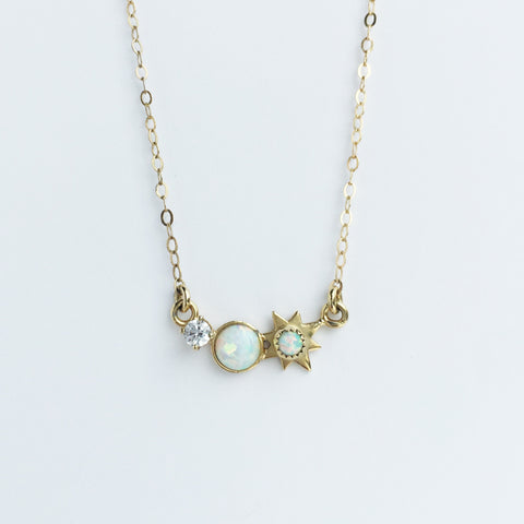 3 wishes opal and diamond pendant necklace