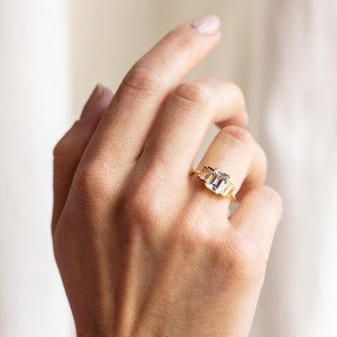 topaz solid gold statement ring