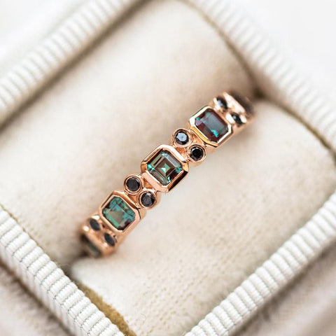 alexandrite and black diamond solid rose gold ring