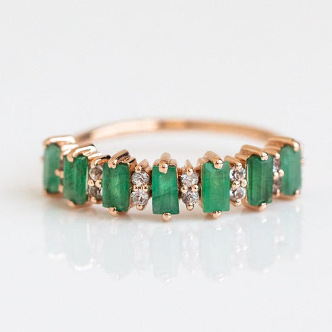 emerald and rose gold everyday ring
