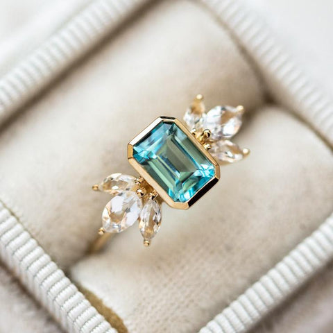 blue statement solid gold ring
