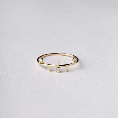 Multi Line Trinity Ring Dainty Delicate diamond ring A.M. Thorne