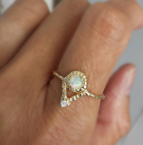 Journey Ring with Opal and Diamonds