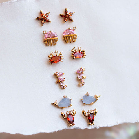 cute unique and fun colorful stud earrings inspired by sea creatures