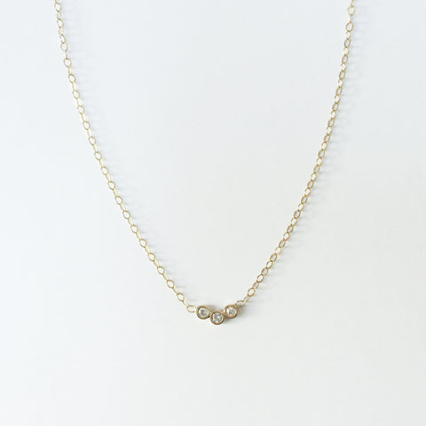 14K gold and diamond trio necklace
