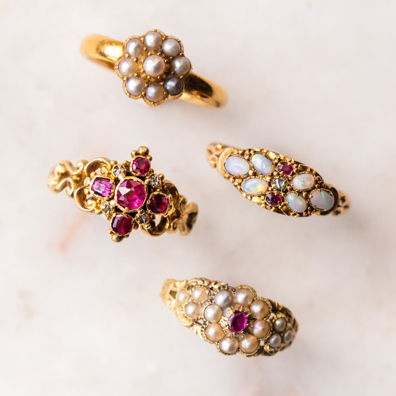 Berry Rapture Stud Earrings with Opal & Garnet
