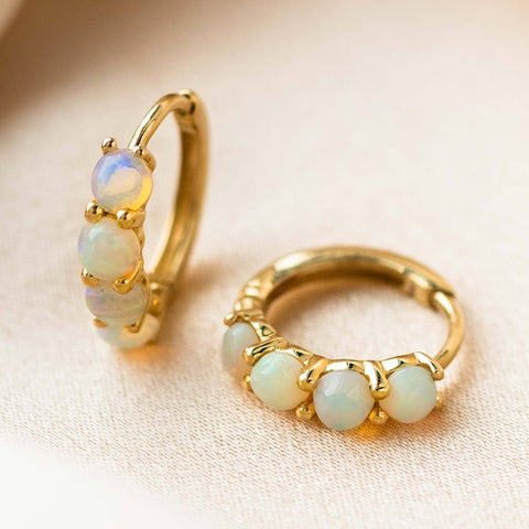 solid yellow gold huggie hoop earring australian opal family gold