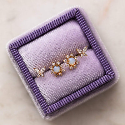 Butterfly Dream Stud Earring Set Yellow Gold Opal CZ Jewelry
