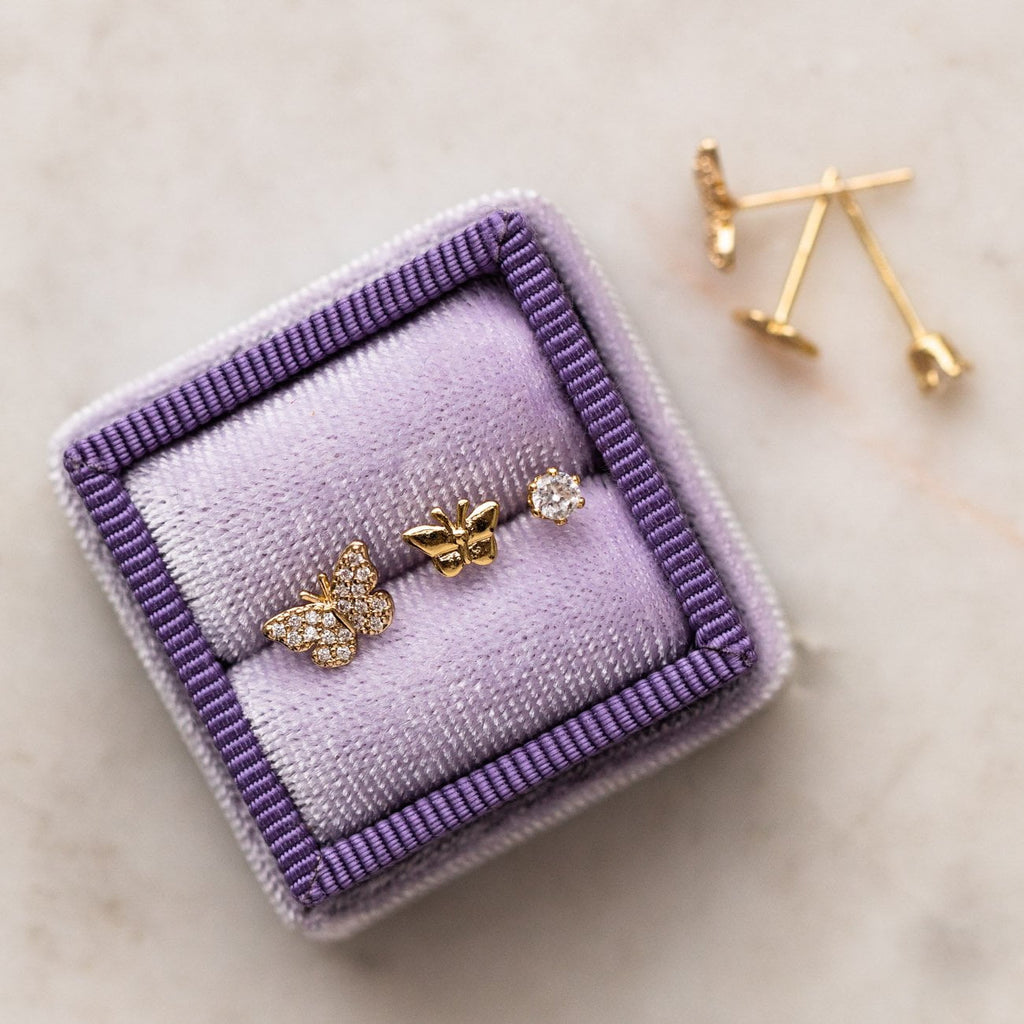 Yellow Gold Butterfly Stud Earring Set CZ Dainty Jewelry