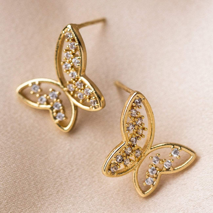 Free Flying Crystal Earrings Yellow Gold Butterfly Jewelry