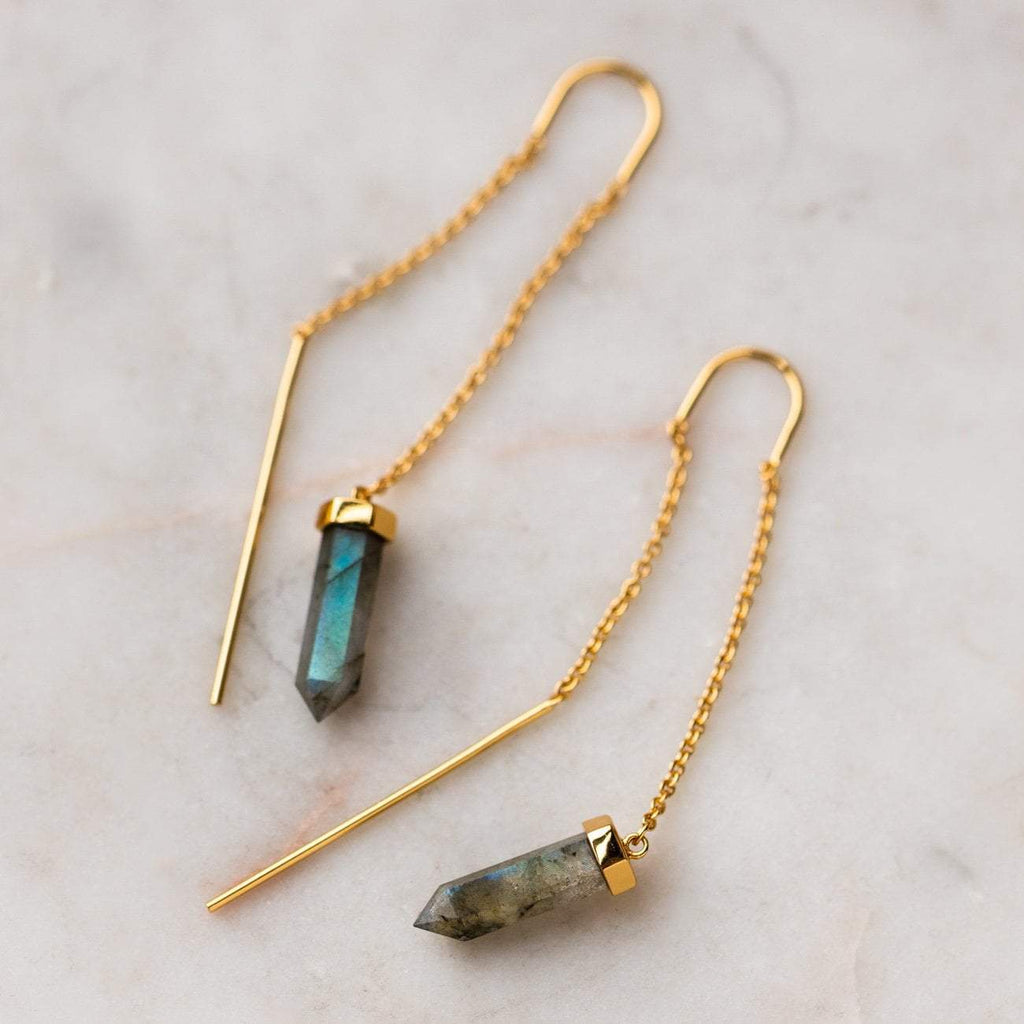 Chain Threader Statement Earrings Labradorite Crystal Cut Points