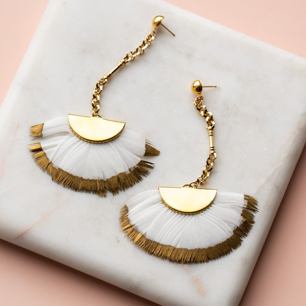 Gold Dip Feather Earrings