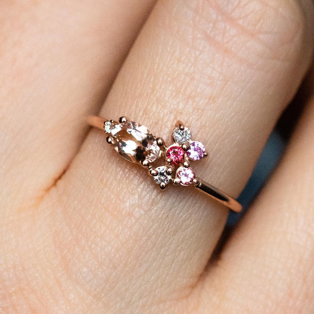 14K Pretty in Pink Cluster Ring