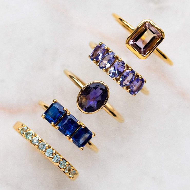tanzanite five oval ring statement colorful modern yellow gold jewelry