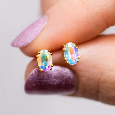Mystic Topaz Studs earrings Carrie Elizabeth Jewelry