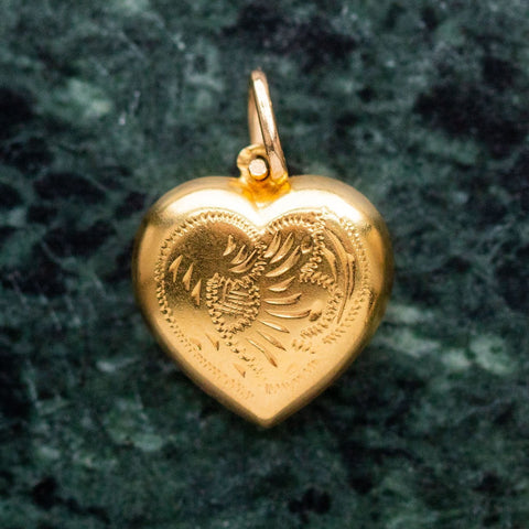 vintage delicate engraved heart pendant necklace yellow gold fine unique jewelry