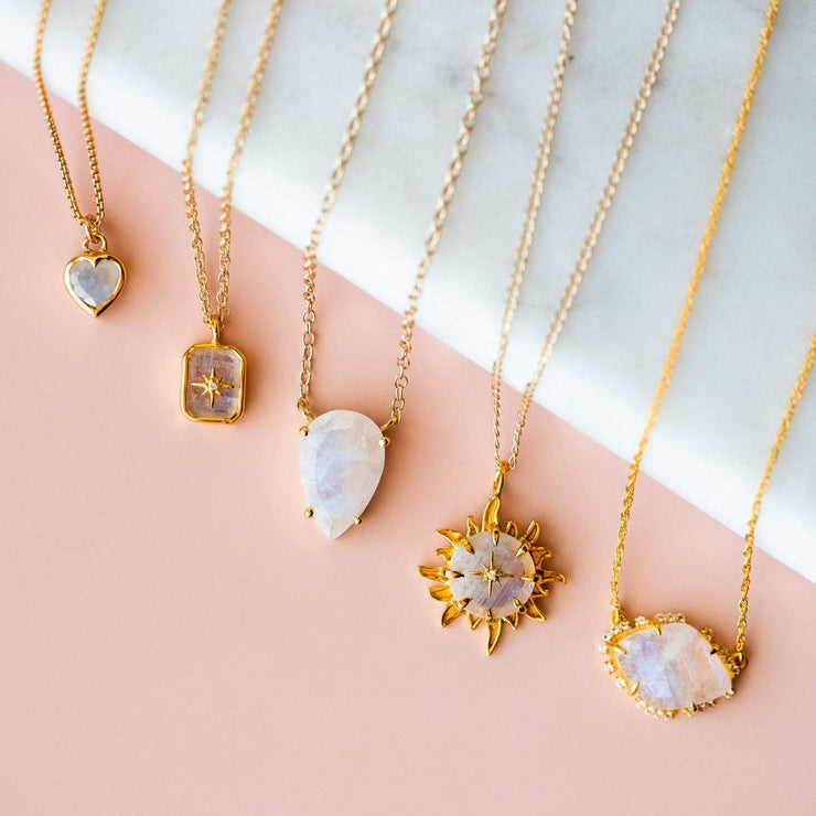 Irregular Scatter Necklace with Moonstone & Topaz necklaces Carrie Elizabeth Jewelry