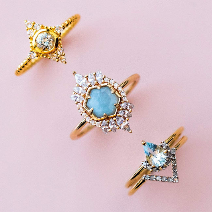 Light Aquamarine & Diamond Angel Stacking Ring Set rings Carrie Elizabeth Jewelry