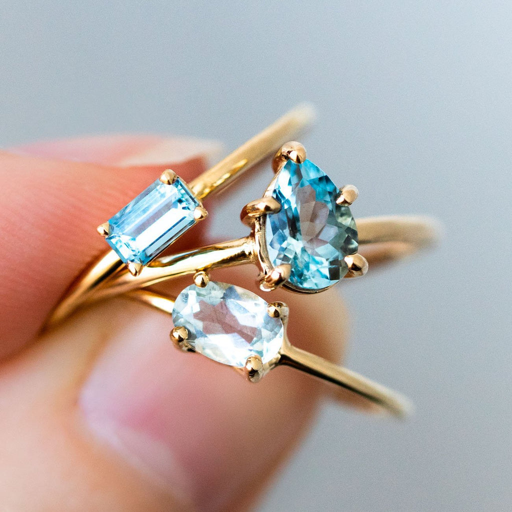 14K Aquamarine Octagon Ring