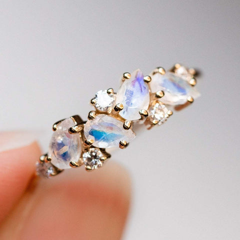 14KT Gold Rainbow Moonstone & Diamond Woodland Fairytale Ring