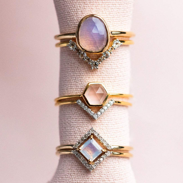 Rose Quartz Hexagon & Diamond V Stacking Set rings Carrie Elizabeth Jewelry