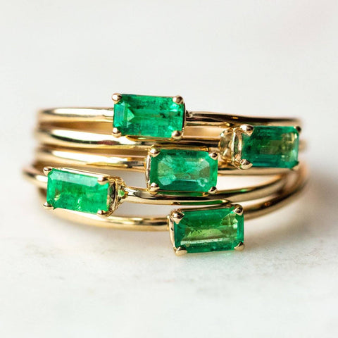 14K Emerald Octagon Ring