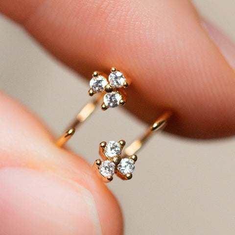 ear huggie earrings with cz cluster dainty yellow gold jewelry