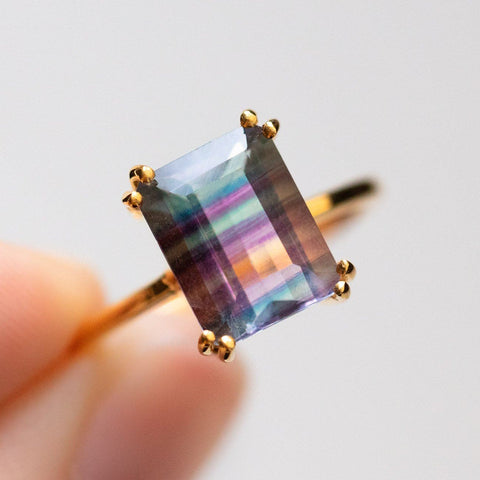 Emerald Cut Fluorite Ring