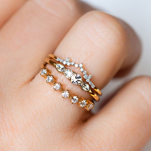 Diamond Arc Stacking Ring