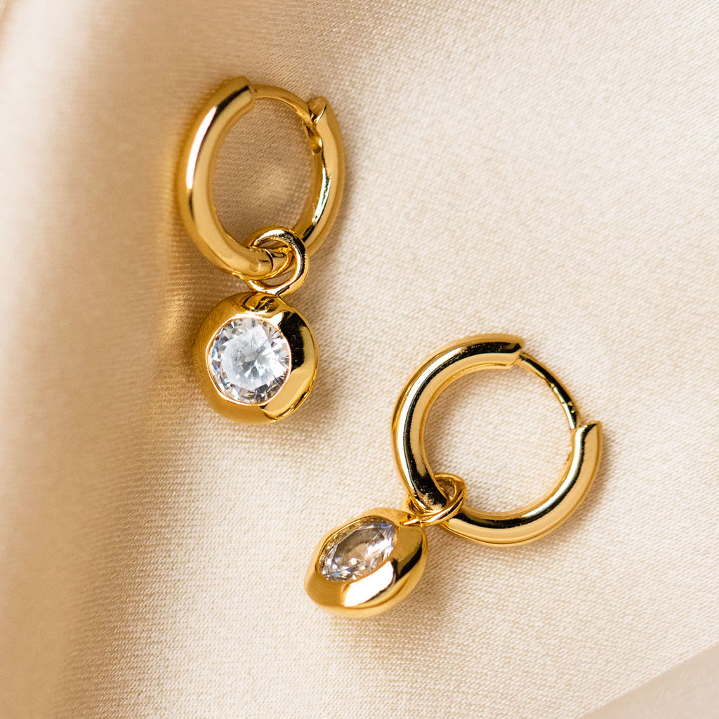 huggie hoop earring cz modern yellow gold jewelry