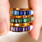baguette inlay ring unique colorful statement band