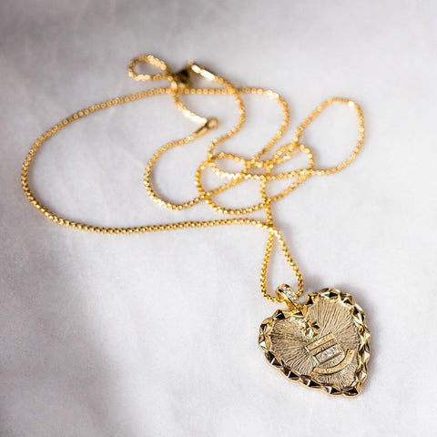 devtion pendant necklace unique yellow gold heart charm jewelry