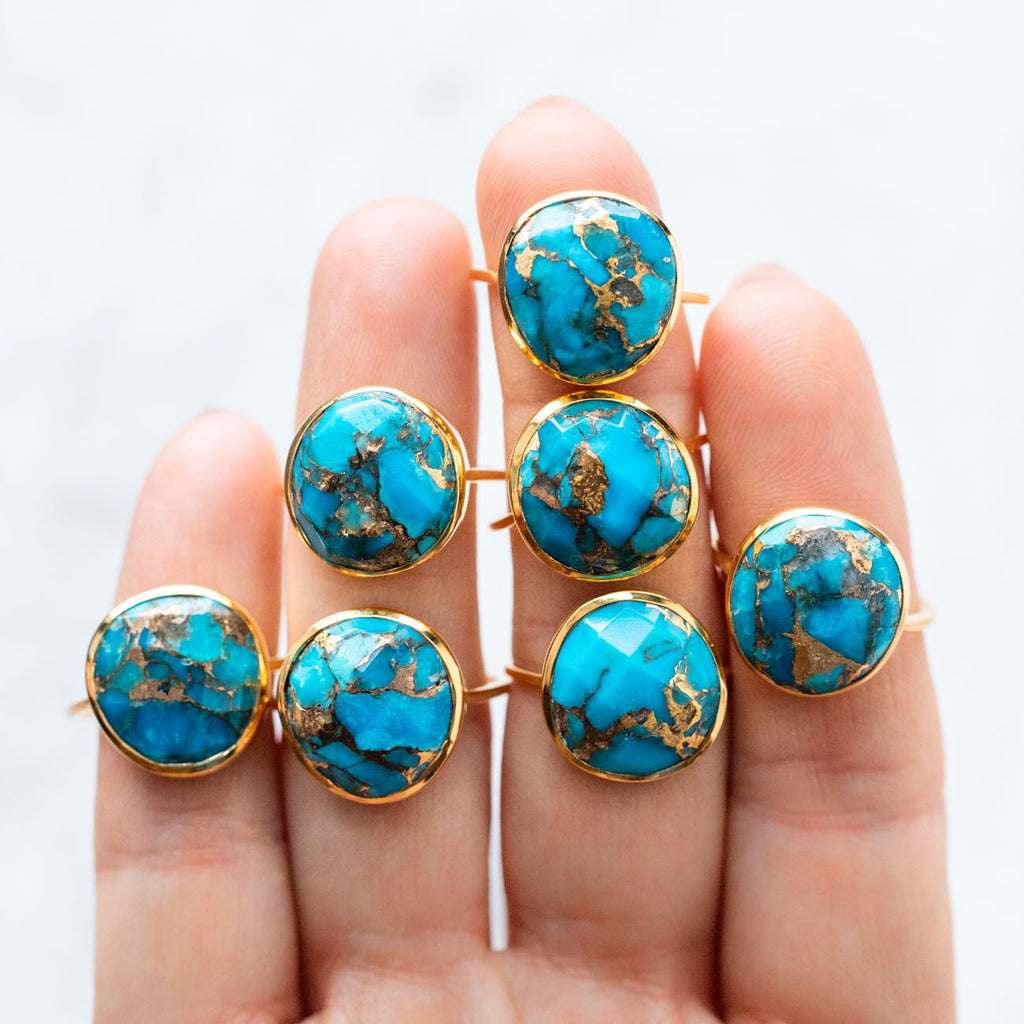 Unique Turquoise Gold Statement Ring