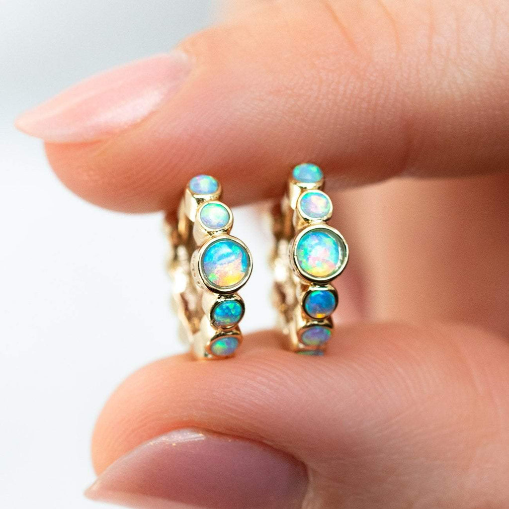 Blue Opal Azoff Huggie Earrings