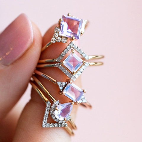lilac quartz statement stacking ring from local eclectic