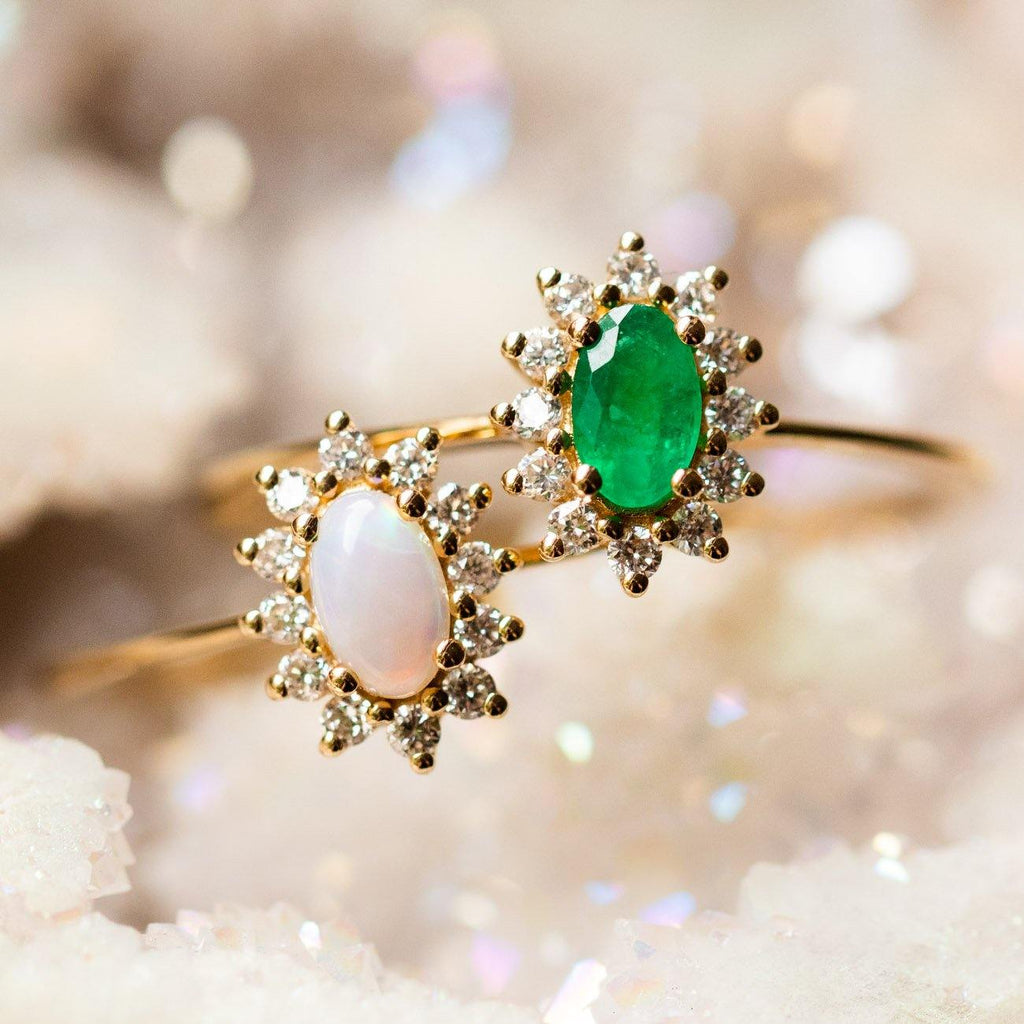 14k solid yellow gold opal emerald diamond dainty fine ring