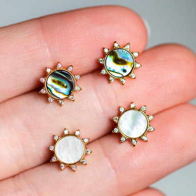 soleil sun statement stud earrings unique stone abalone and mother of pearl
